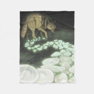 Wolf Trailing Death Mushrooms Fleece Blanket