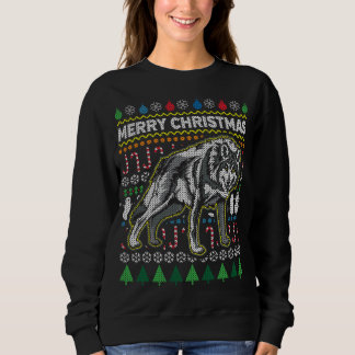 Wolf Ugly Christmas Sweater Wildlife Series