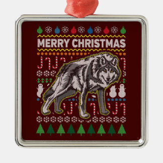Wolf Ugly Christmas Sweater Wildlife Series Metal Ornament