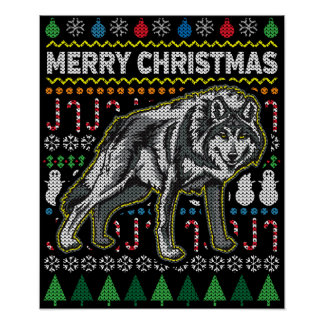 Wolf Ugly Christmas Sweater Wildlife Series Poster