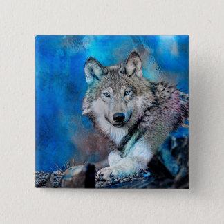 Wolf Watercolor  Art 2 Inch Square Button