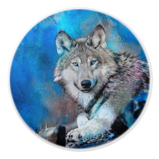Wolf Watercolor  Art Ceramic Knob