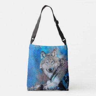 Wolf Watercolor  Art Crossbody Bag