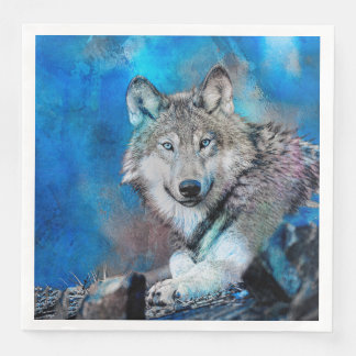 Wolf Watercolor  Art Disposable Napkins