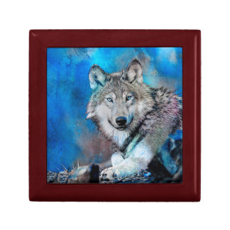 Wolf Watercolor  Art Jewelry Boxes