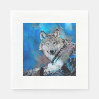 Wolf Watercolor  Art Paper Napkins