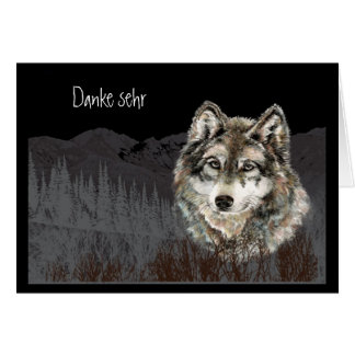 Wolf Watercolor  Danke sehr   German Card