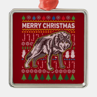 Wolf Wildlife Merry Christmas Ugly Holiday Sweater Silver-Colored Square Ornament