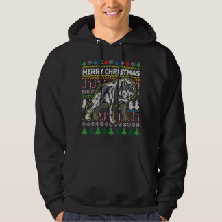 Wolf Wildlife Merry Christmas Ugly Sweater Style
