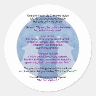Wolf Wisdom Round Sticker