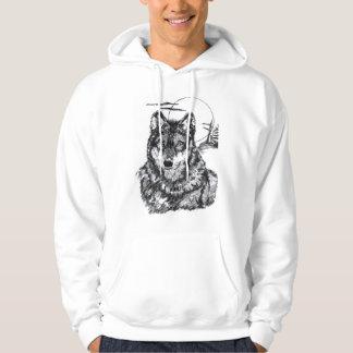 Wolf with Moon Hooded Sweatshirt