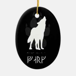 Wolf with viking runes X-mas Ceramic Oval Ornament