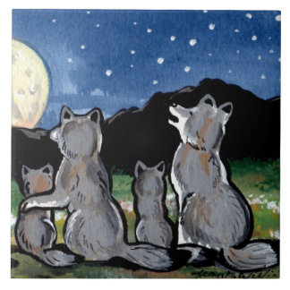 "Wolf Wolves Family Howling at Moon 6"" Tile Trivet"