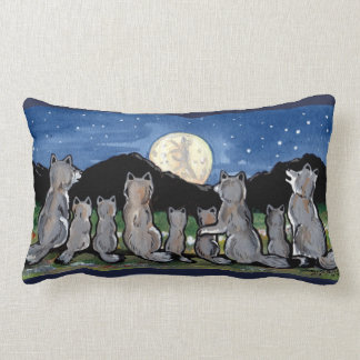 Wolf Wolves Howling at Moon Night Designer Pillow