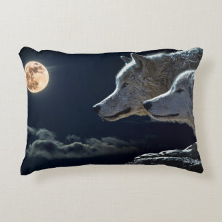Wolf Wolves Howling at the Full Moon at Night Decorative Pillow