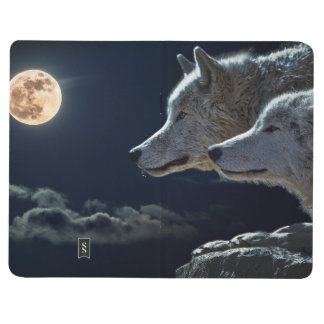 Wolf Wolves Howling at the Full Moon at Night Journal