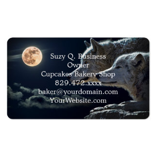 Wolf Wolves Howling at the Full Moon Business Card