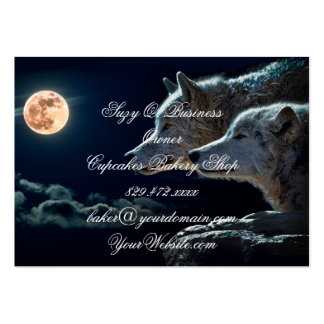 Wolf Wolves Howling at the Full Moon Large Business Card