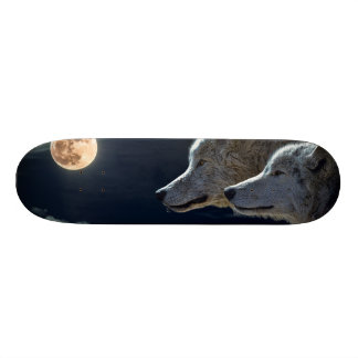 Wolf Wolves Howling at the Full Moon Skateboard Deck