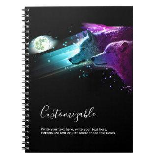 Wolf, Wolves Moon, Moonlight. Spirit Animal Notebook