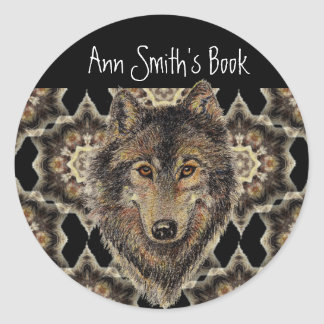 Wolf, Wolves, Wild Animal, Nature, Book Plate Classic Round Sticker