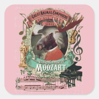 Wolfgang Amadeus Moozart Moose Animal Composers Square Sticker