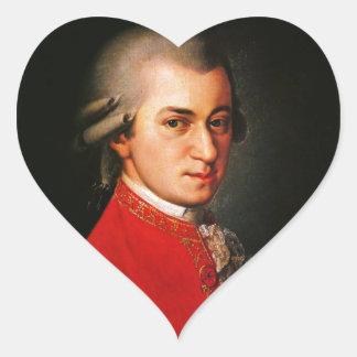 Wolfgang Amadeus Mozart portrait Heart Sticker