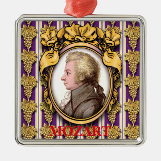 Wolfgang Amadeus Mozart Silver-Colored Square Ornament