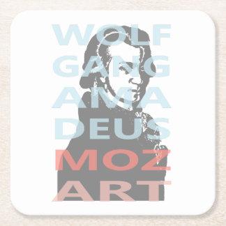 Wolfgang Amadeus Mozart Square Paper Coaster