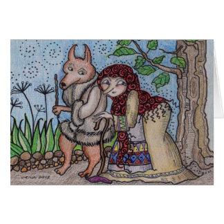Wolfie Goes For a Walk Ukrainian Folk Art Card