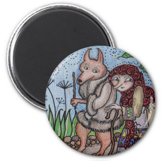 Wolfie Goes For a Walk Ukrainian Folk Art Magnet