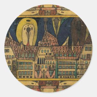 """Wölfli """"Waldau"""" Fine Art Round Sticker"""