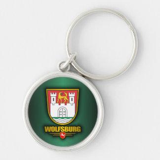 Wolfsburg Silver-Colored Round Keychain
