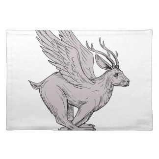 Wolpertinger Running Side Drawing Placemat