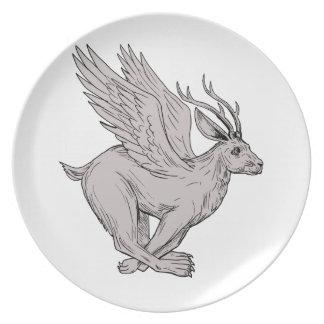 Wolpertinger Running Side Drawing Plate