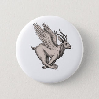 Wolpertinger Running Side Tattoo 2 Inch Round Button