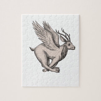 Wolpertinger Running Side Tattoo Jigsaw Puzzle