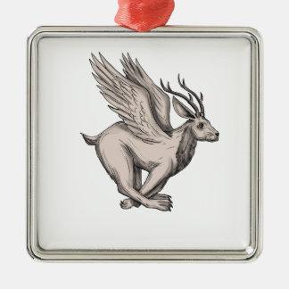 Wolpertinger Running Side Tattoo Metal Ornament