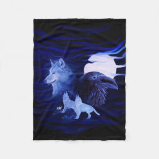 Wolves and Raven with full moon Fleece Blanket