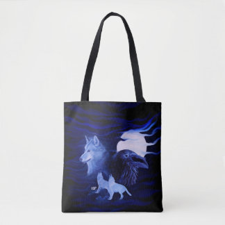 Wolves and Raven with full moon Tote Bag