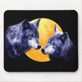 Wolves at full moon mousepads