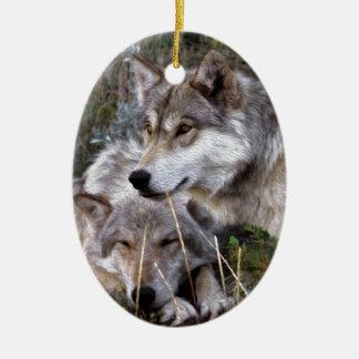 Wolves ~ Digital Oil Paining Ceramic Ornament