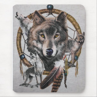wolves dream catcher mouse pad