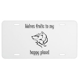 Wolves frolic in my happy place license plate