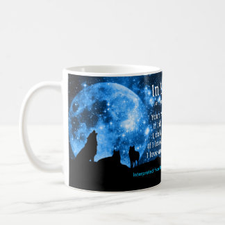Wolves howl at full moon, with Mayan teachings Coffee Mug