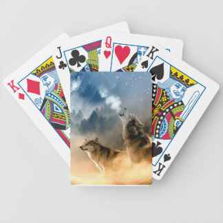 Wolves In Moonlight Bicycle Playing Cards