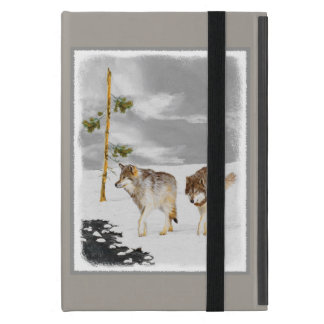 Wolves in Snow Painting - Original Wildlife Art Cover For iPad Mini