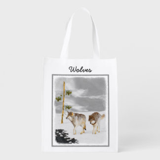 Wolves in Snow Painting - Original Wildlife Art Reusable Grocery Bag