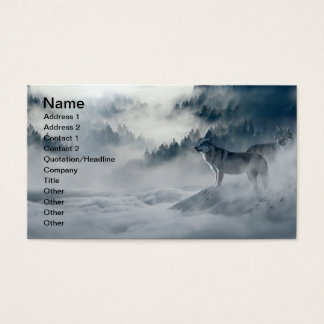 Wolves in Snowy Winter Landscape Business Card