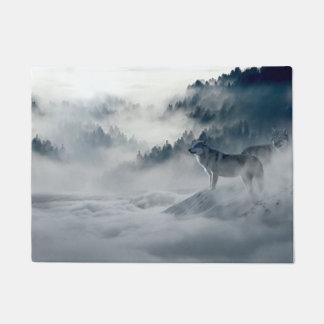 Wolves in Snowy Winter Landscape Doormat